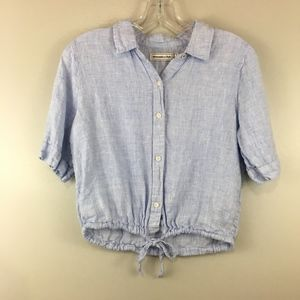Abercrombie & Fitch Crop Faded Blue Linen Top
